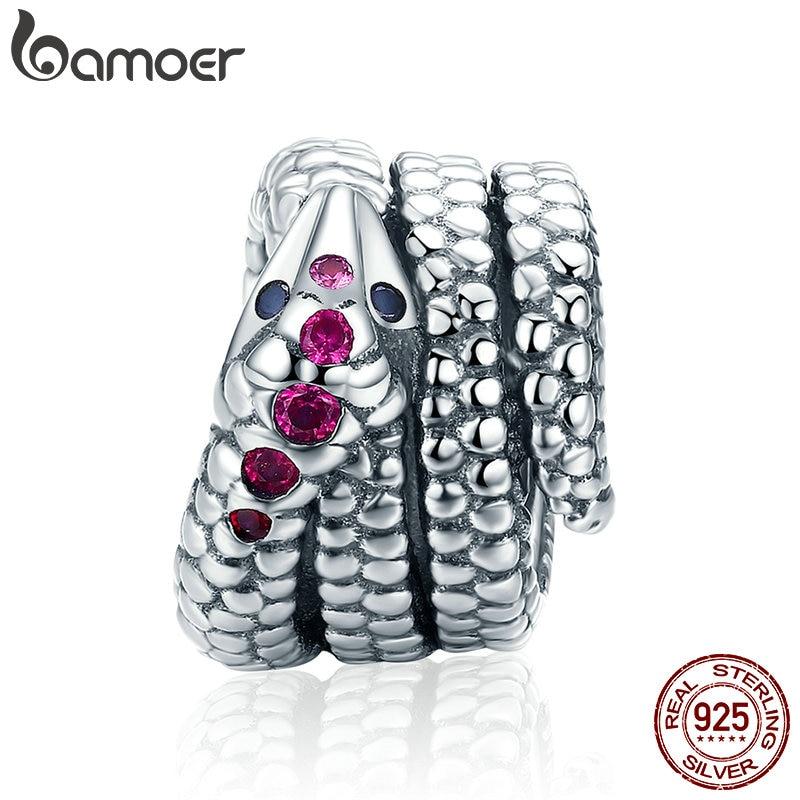 Snake Charm for Bracelet 925 Sterling Silver Sparkling CZ & Black Crystal Charms Fit  Bracelet Necklace DIY Jewelry SCC713