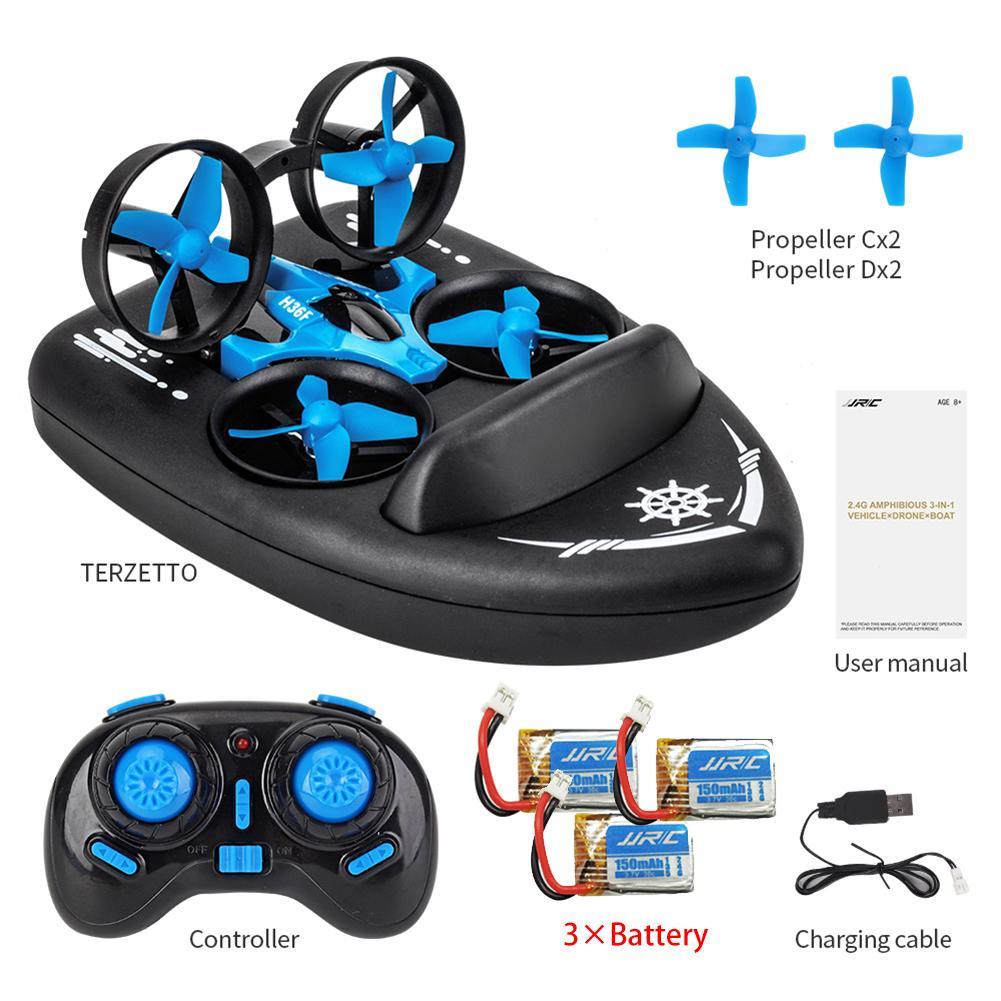 2019 date JJRC H36F 3 en 1 RC Drone quadrirotor/véhicule/aéroglisseur bateau Drone enfants jouets pour mer terre et Air avec 1-3 Batteries