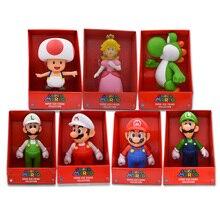 7 Styles Anime Figura Super Mario Bros Mario Luigi Yoshi Toad Princess Peach PVC Action Figure Doll Collectible Model Baby Toy
