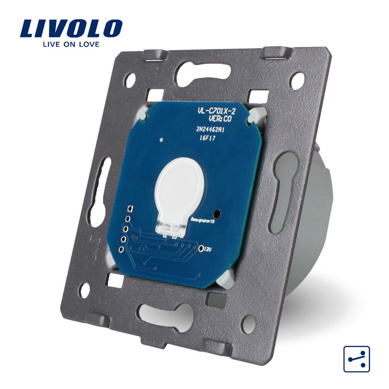 Livolo estándar de la UE, 1 Gang 2 Control manera, AC 220 ~ 250 V, pantalla táctil de luz de pared sin Panel de vidrio, VL-C701S