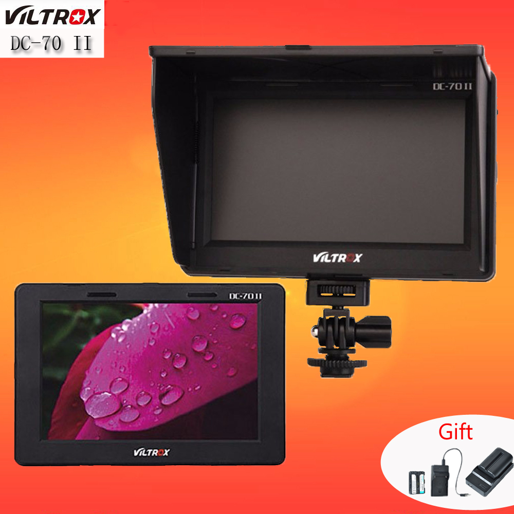 Viltrox 7'' DC-70 II 1280x800 HD LCD HDMI AV Input Camera Video Monitor Display & Battery & Charger for Canon Nikon DSLR BMPCC