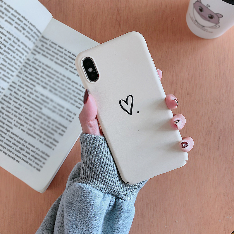 Coque Capa For iphone 7 8 plus 6 6s plus Simple Love Heart Hard PC Phone Case Back Cover For iPhone XS Max XR X 8 Plus Fundas Karachi