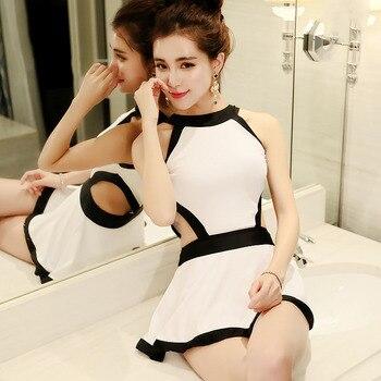 Traje de baño de una sola pieza falda pequeña de pecho recogida adelgazamiento del vientre trajes de baño conservador blanco y negro