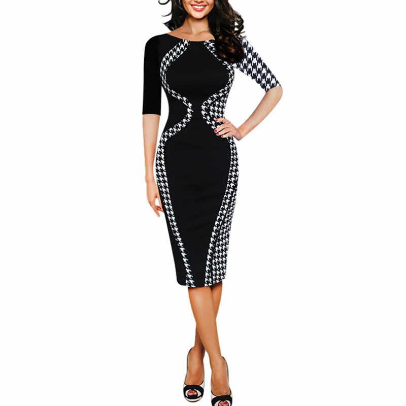 da2aa03188bd3 2019 Women Dress Vintage Party Fashion Bodycon Patchwork Business Vestidos  Verano Sexy Cocktail casual Summer Elegant Dresses