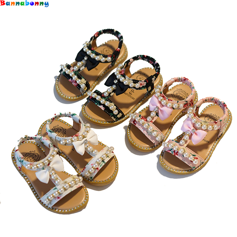 2018 New Kids Baby Teenagers Grils School Sandals Bare Toes Shoes Summer Princess Pearl Flat Beach Shoes