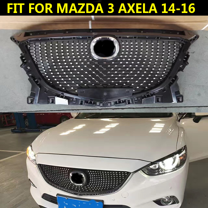 11*Silver Front Bumper Grille Grill Trim Fit For Mazda 3 Axela 2014-2016