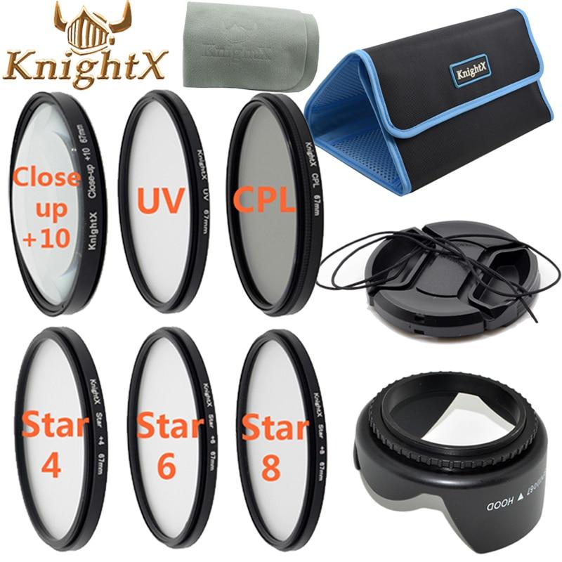 KnightX uv filter 67mm 52mm Star nd cross CPL Lens Kit for Canon Nikon d3200 d5200 d5100 Sony Digital Camera 650d 70d d7200 d90 emolux sqm6029 6 point star filter black 67mm