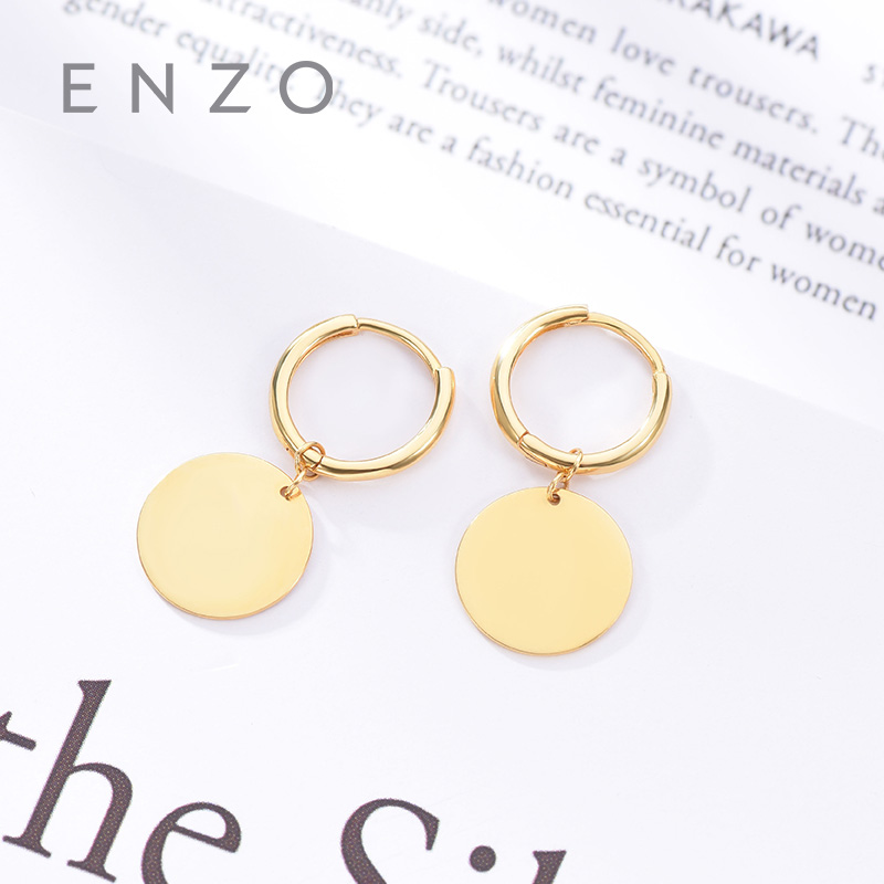 Enzo Pure 18K Gold Earring Round Jewelry Women Miss Girls Gift Party Female Hoop Earrings Solid Hot Sale New Good Trendy real 18k gold jewelry heart earring women miss girls gift party female ear wire drop earrings solid hot sale new good trendy