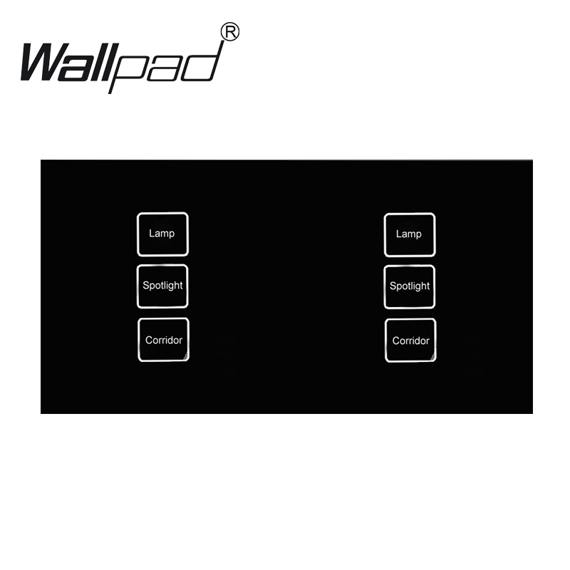110 250V Wallpad 6 gang 2 way Waterproof Crystal Glass Black 172 86mm Double Control Touch