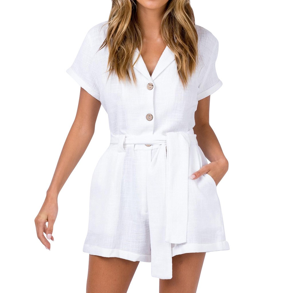2019 New V-Neck Short Sleeve White Rompers Women Cotton And Linen Belt Bandage Jumpsuits Casual Solid Overalls