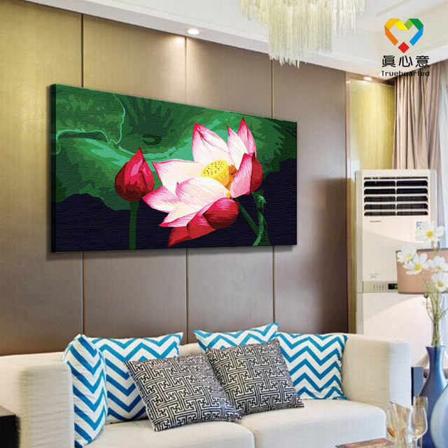 Lotus Flower Oil Painting By Number Digital Painting 100cotton