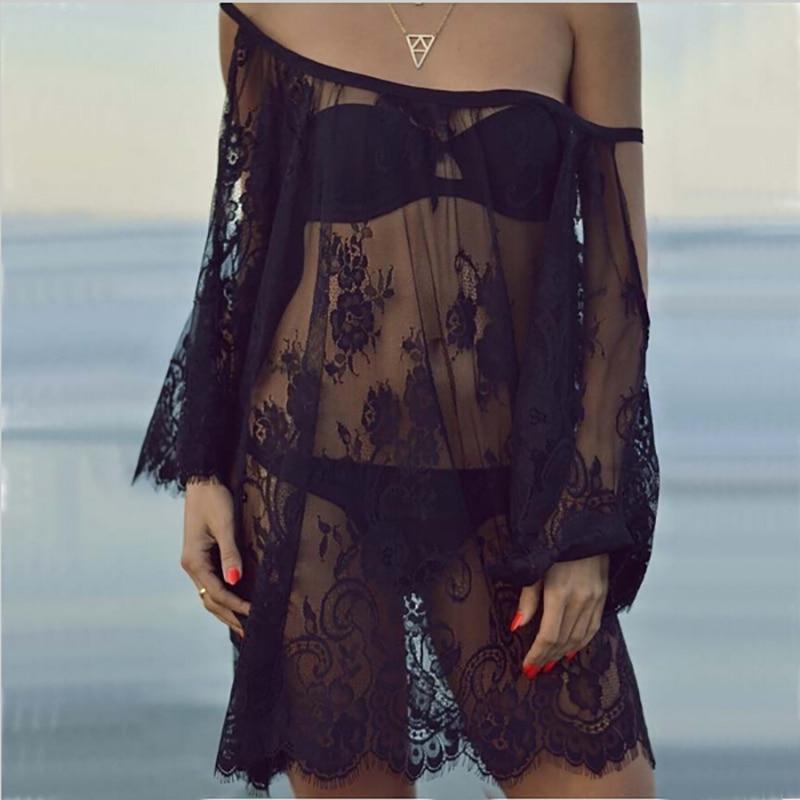 Saida De Praia Beach Cover Up Pareo Playa Coverup Dress Vestido Livre Swimsuit Wear Swimwear White Lace Women Beachwear AA318