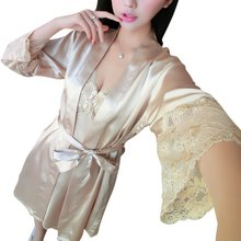 Silk Satin Sleepwear Womens Pajamas Sexy Lingerie Nightdress Robe Femme Nightgown Two Piece Set