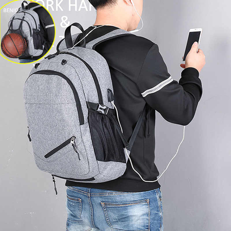 USB Basketball Backpack Gym Fitness Bag Sporttas Net Ball Bags for Men Sports Sac De Sport Tas Men's School Boys Pack XA414WA