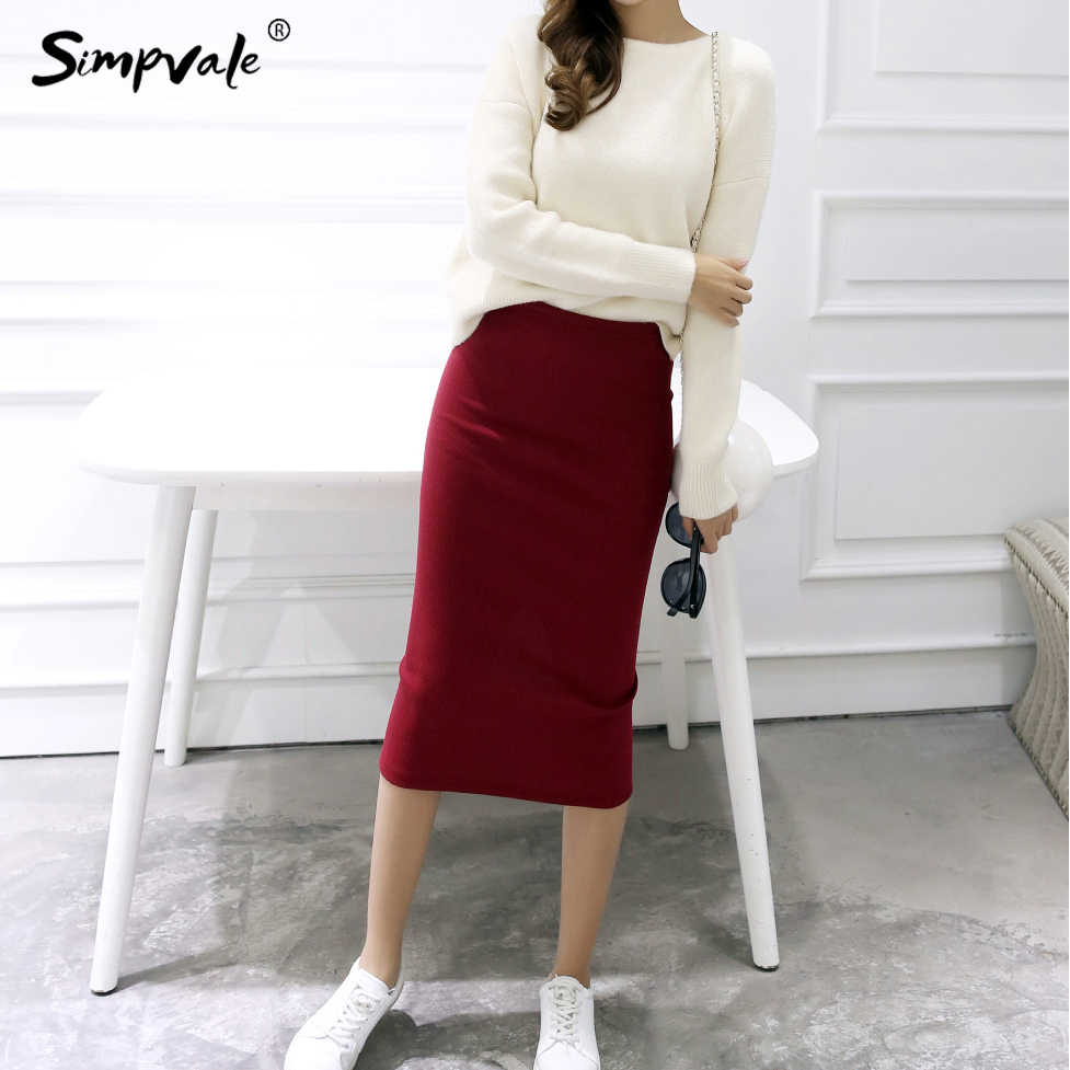 ffca5e3e5 SIMPVALE Summer Sexy Chic Pencil Skirts Women Office Skirt Wool Rib Knit  Long Skirt Package Hip