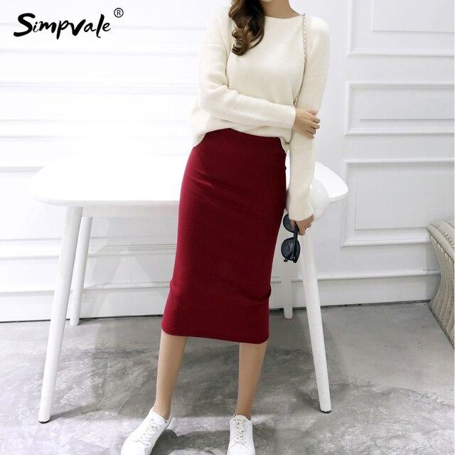 3b3eb068ec4 Simpvale летние пикантные шикарные Юбки-карандаши Для женщин офисные юбки  шерсть ребра вязать длинная юбка