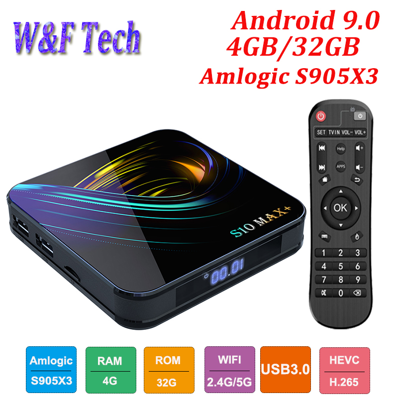 Newest S10 MAX+ Android 9.0 Smart TV BOX Amlogic S905X3 Media Player Support 4K 2.4G&5G WIFI BT H.265 Set Top Box VS H96 MAX porta celular para hacer ejercicio
