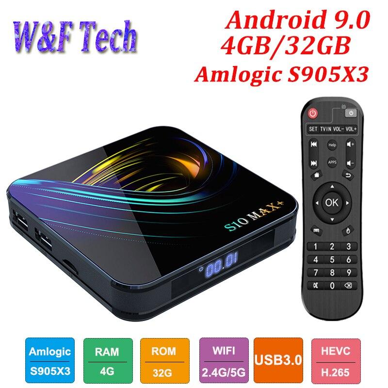 Le plus récent S10 MAX + Android 9.0 Smart TV BOX Amlogic S905X3 lecteur multimédia prend en charge 4K 2.4G & 5G WIFI BT H.265 décodeur VS H96 MAX
