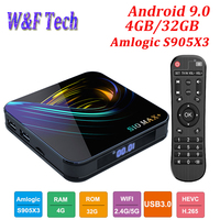 Newest S10 MAX+ Android 9.0 Smart TV BOX Amlogic S905X3 Media Player Support 4K 2.4G&5G WIFI BT H.265 Set Top Box VS H96 MAX