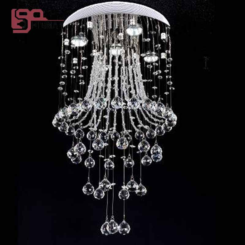 modern crystal chandelier flush mount round crystal lamp lustres living room chandelier bedroom light