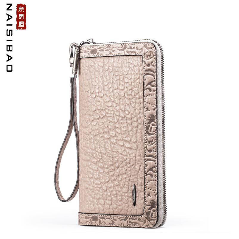 NAISIBAO 2019 New Genuine Leather wallet top Cowhide Embossing women leather wallets Luxury Fashion leather women clutch bagNAISIBAO 2019 New Genuine Leather wallet top Cowhide Embossing women leather wallets Luxury Fashion leather women clutch bag