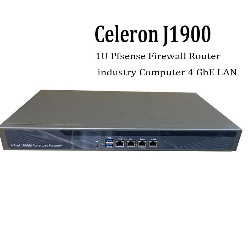 1U Pfsense Celeron J1900 Quad Core Network Security Control Desktop Firewall Router industry Computer 4 GbE LAN partaker 1u firewall server security firewall d525 with intel pci e 1000m 4 82583v 2gb ram 32gb ssd pfsense router