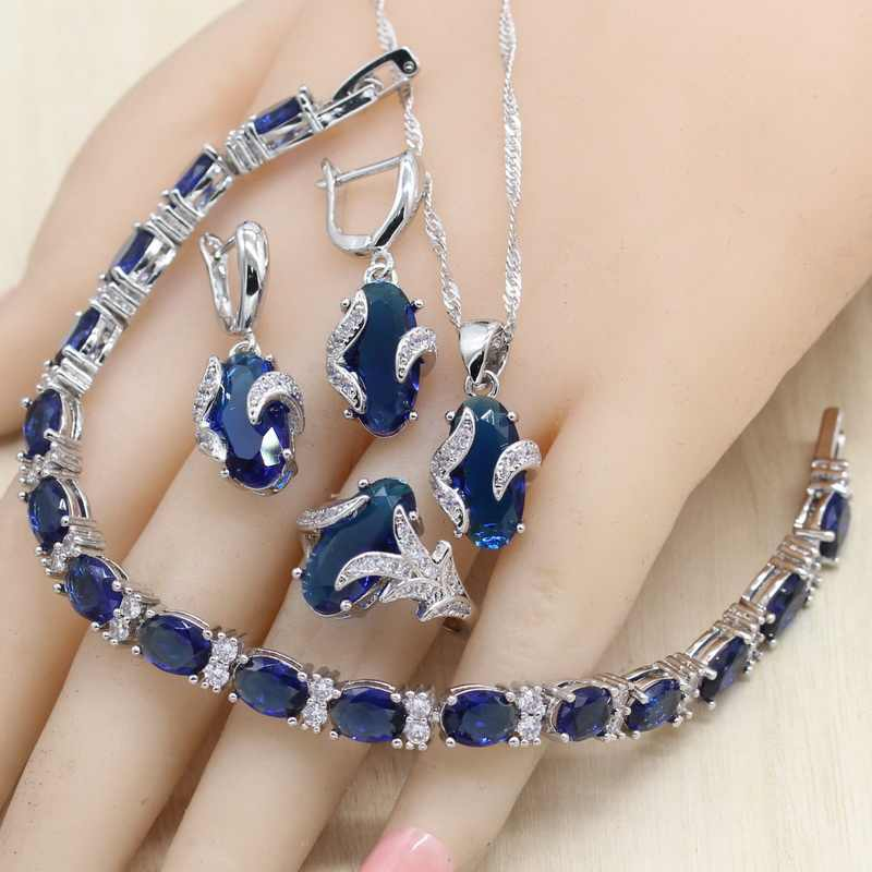 Oval Royal Blue Semi-precious Women 925 Sterling Silver Jewelry Sets with Bracelet Necklace Pendant Earrings Ring Birthday Gift