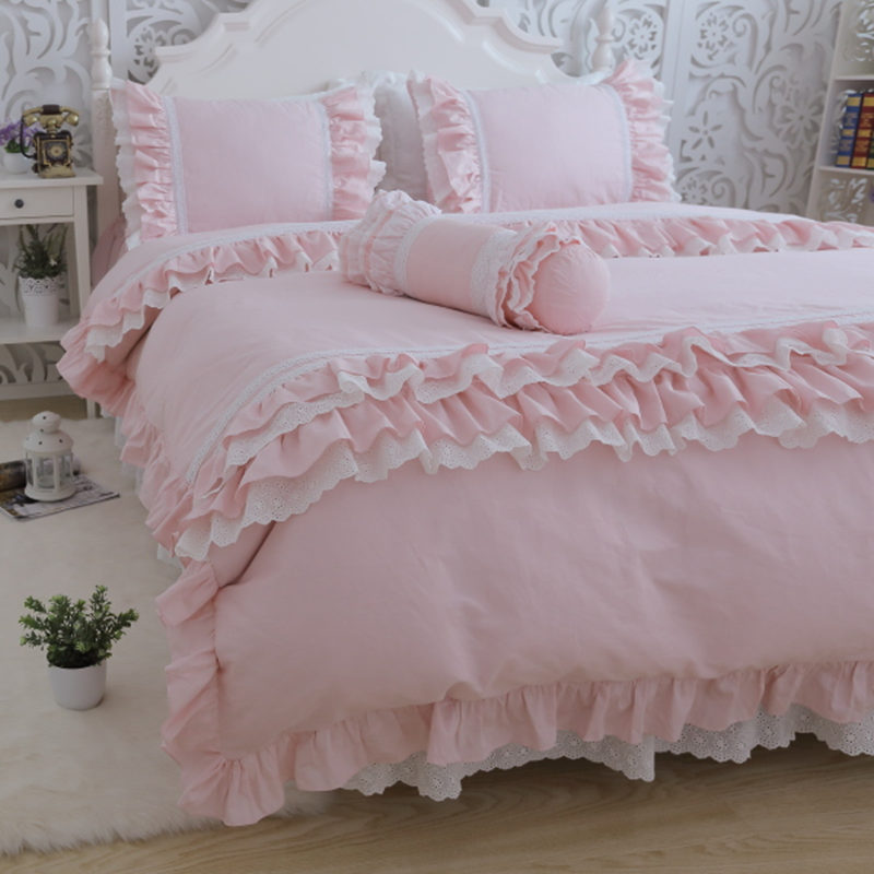 Top pink embroidery lace ruffle bedding set European style bedroom textile luxury cake layers duvet cover bedspread pillowcase