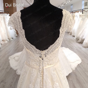 Image 4 - Cap Sleeve V Neckline Wedding Dress with Luxury Pearl Beaded Delicate Lace Bridal Gown High Quality Factory Custom Made