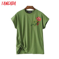 Tangada Fashion Woman Knot Green T-shirts Floral Embroidery O-Neck Short Sleeve T-shirt Summer Casual Brand Mujer Clothing 3D8