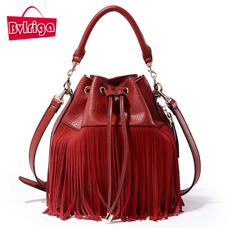 BVLRIGA Tassel Red PU Leather Handbag Women Bag Female Shoulder Crossbody Bag Women Messenger Bag Bucket Tote Bag Barrel Small 2017 funny personality women pu leather chain ladies shoulder bag handbag female crossbody mini messenger bag purse bucket bag