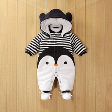 New Baby Clothes Detachable Newborn Cotton One-piece Thick Hooded Warm Winter Romper Animal Style