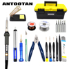 EU 220V 60W Electrical Soldering Iron Adjustable Temperature Kit Welding Repair Tool Set With Tool Bo