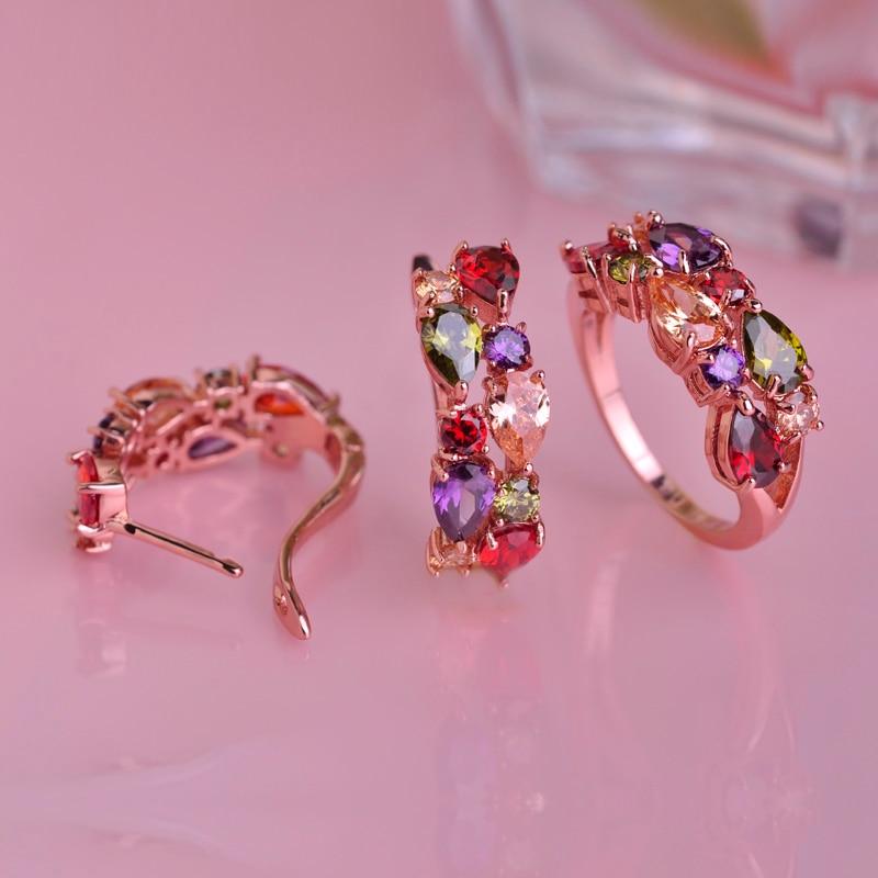 MECHOSEN Colorful Rhinestones Rings&Earrings Sets AAA Zircon Copper Anillos Rose Gold Orecchini Schmuck Sets Christmas Gift Box 1