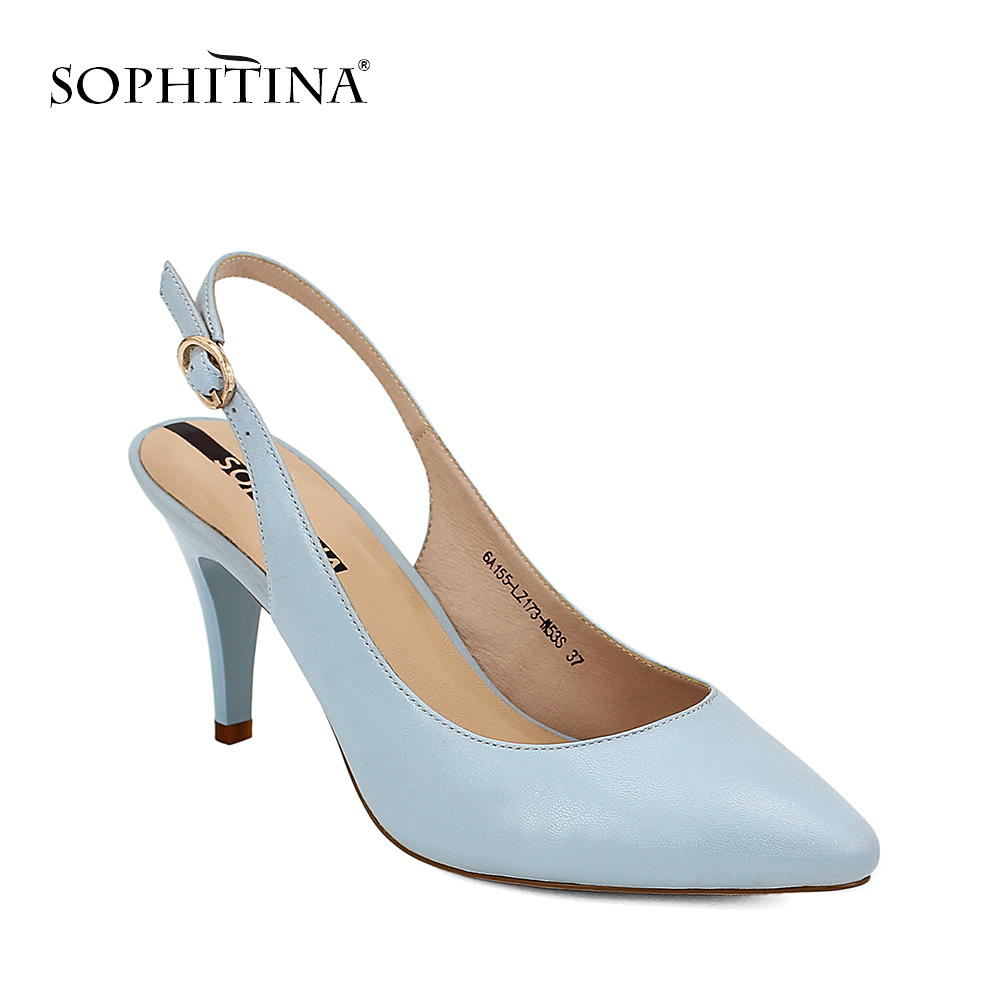 SOPHITINA Sexy Lady Shoes Party Sheepskin Buckle Back Strap 2018 Pumps High  Thin Heel Wedding Sandals Elegant Shoes Woman S09 35846126f749