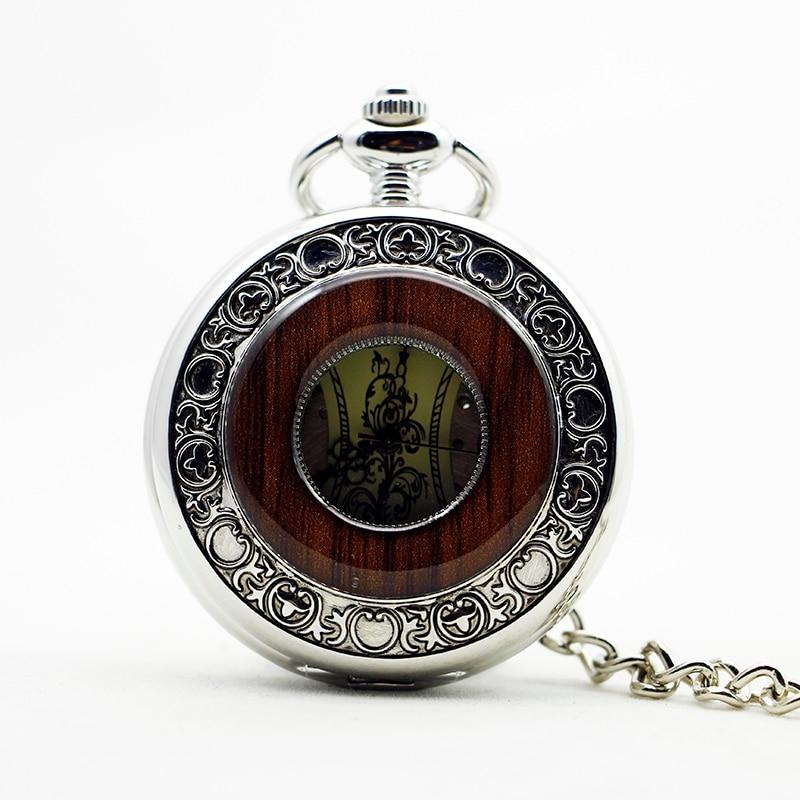 Silver Fashion Steel Wooden Mechanical Pocket Watch Unisex Necklace Clock Men Women Watch Reloj Collar