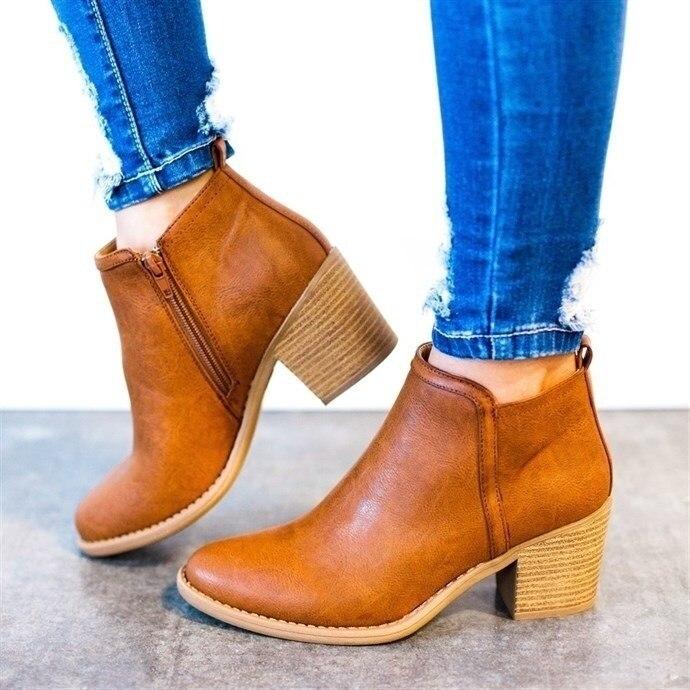 2018 Mujer Tacón Alto Cool Cuero Estilo De Botas negro Casual Tobillo Básicas Beige Sexi Zapatos Otoño Invierno A897 marrón 48xr4gw