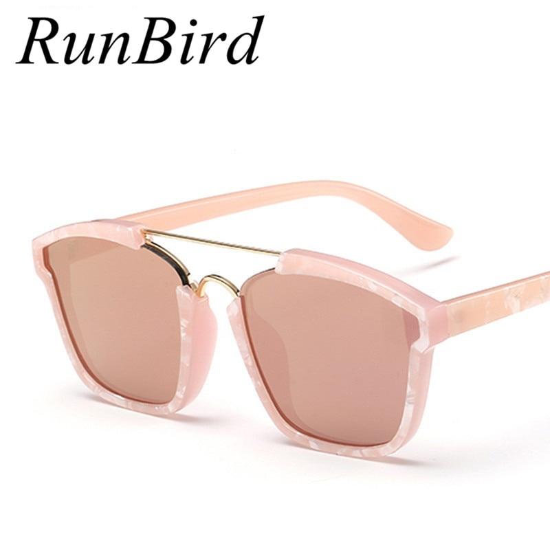 Runbird تحتوي على الذهب الوردي وذهب الطاغية! النظارات الشمسية مرآة ذبل النساء العلامة التجارية مصمم طلاء أحد الزجاج Oculos R008