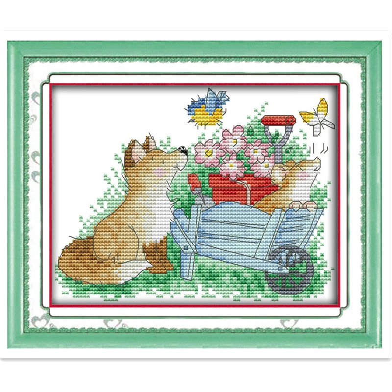 The Dogs And Butterfly Needlework  Chinese Counted Cross Stitch Patterns Kits kits-for-embroidery DMC Cross Stitch Fabric