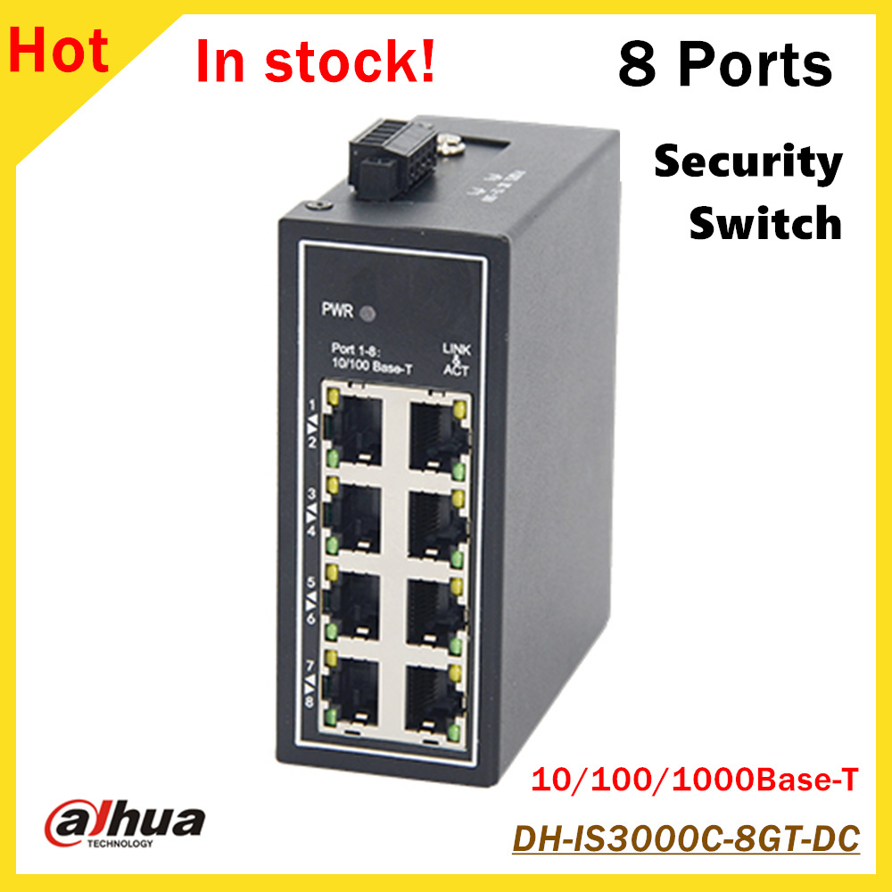 Original DH 8 Ports Unmanaged Security Industrial Switch DH-IS3000C-8GT-DC 8*10/100/1000Base-T CCTV IP System dh 8 ports poe switch standard 48v not burn the machine 250 meters transmit for security cameras and cctv ip system