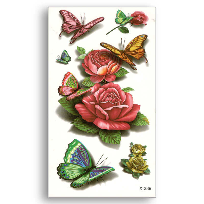 Water Transfer 3D colored flowers butterfly Stickers Fake temporary tattoo Women Man beauty Sexy Body Art Live of Song X389