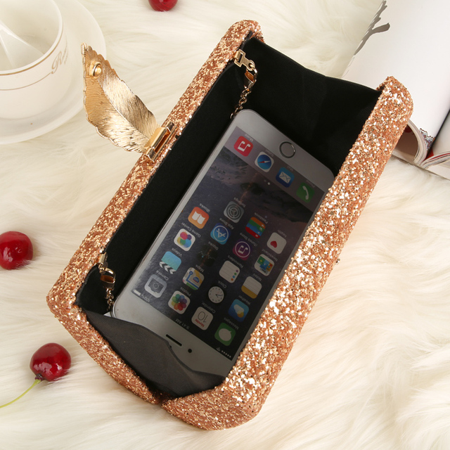 Fashion Sequined Clutch Women's Evening Bags Bling Day Clutches Gold Color Metal Leaf Lock Wedding Purse Female Handbag 3