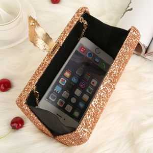 Image 4 - Women Clutch Bags Day Clutches Pink Gold Purse for Wedding Crossbody Bags for Women 2019 Metal Leaf Lock Female Handbag ZD1076