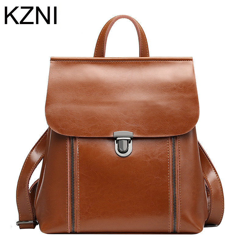 KZNI Genuine Leather Purse Crossbody Shoulder Women Bag Female Backpack Sac a Main Femme De Marque  L122521 kzni genuine leather purse crossbody shoulder women bag clutch female handbags sac a main femme de marque l121011