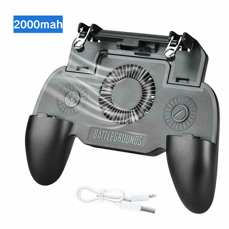 Mobile Phone Game Controller Joystick Cooling Fan Gamepad with 2000/4000mAh Power Bank For PUBG Android IOS