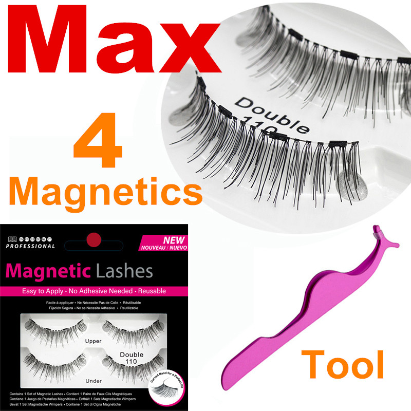 Magnetic Eyelashes With 4 Magnets Handmade 3D Natural Long New 4 Magnetic Eyelashes Long Lasting False Eyelashes Magnet Lashes
