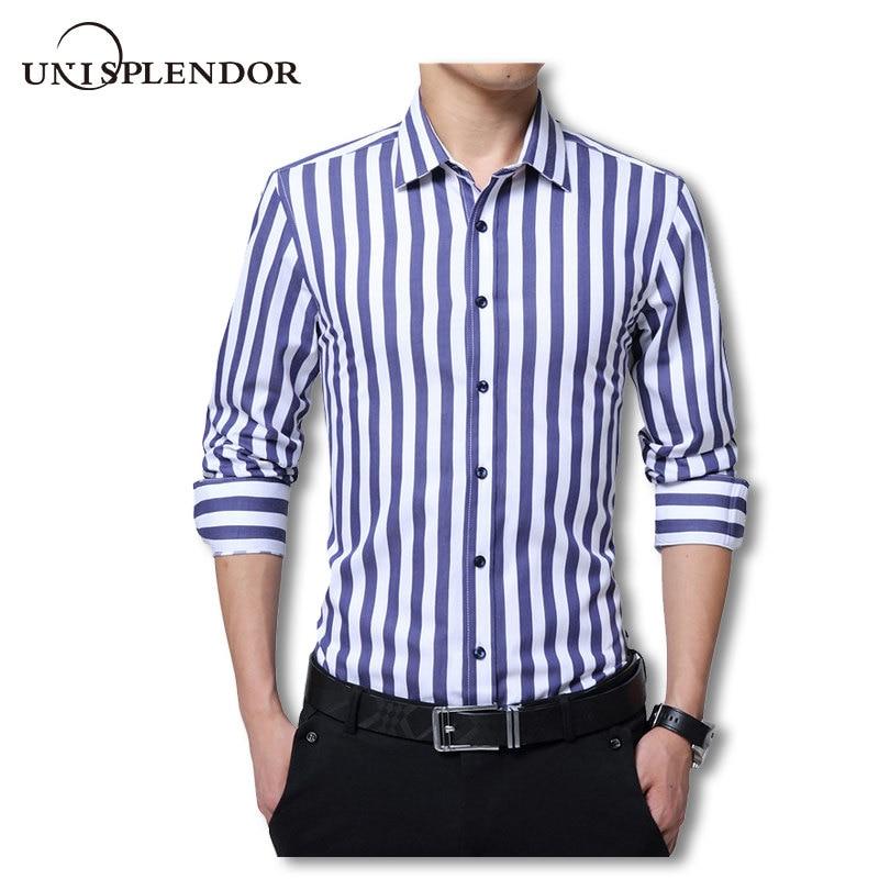 US $14.99 37% OFF|2020 Spring Mens Slim Fit Stripes Pattern Shirts Business Shirt Work Wear Casual Dress Shirt Long Sleeve Shirts Soft Top