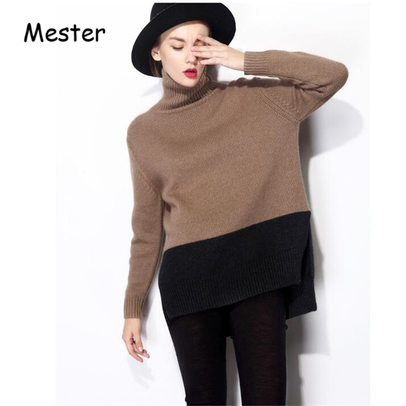 European Style Women Fashion Oversized Turtleneck Cashmere Sweater Plus Size Loose Pullovers Side Slits Patchwork Knitting Coat