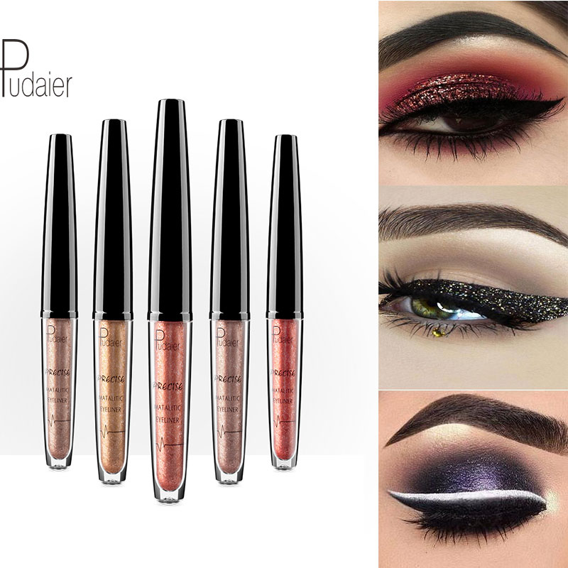 Pudaier 16 Colours Liquid Eyeliner Metallic Eye Liner Pencil Waterproof Make-up Glitter Shimmer Matt Nude Delineador Cosmetics