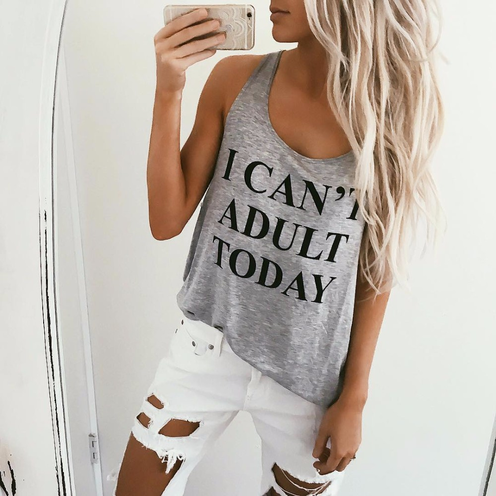I CANT ADULT TODAY Letters Printed Women Tank Tops Off Shoulder Vest Shirt Round Neck Sleeveless Casual Sexy Hip Hop Funny Wear